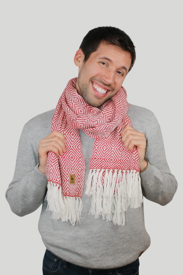 Man in Red Diamond Alpaca Woven Scarf