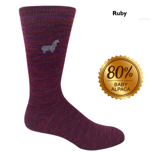 Baby Alpaca Hand Dyed Socks Ruby