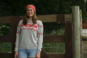 Woman wearing Light Gray Wisconsin Alpaca Hoodie
