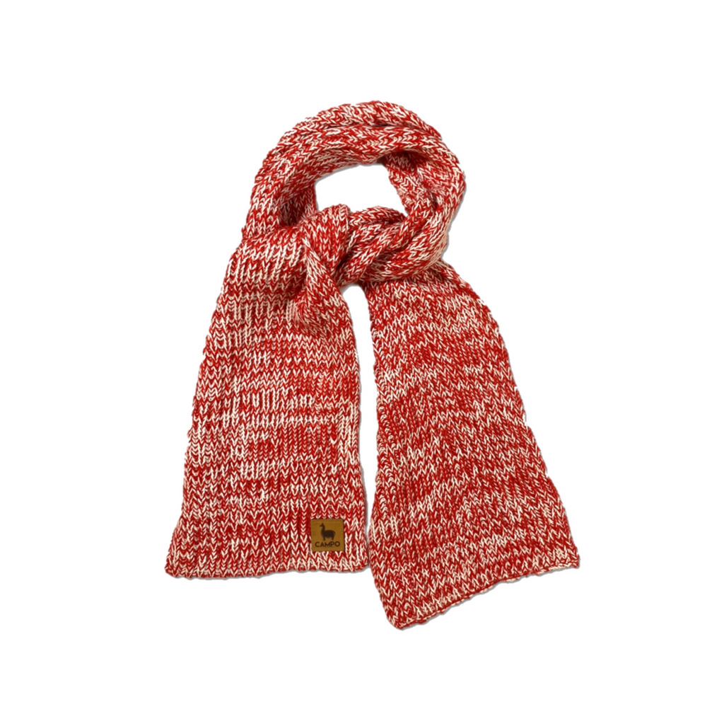 Alpaca Knitted Scarf - Red & White