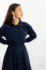 Ink Cord Shirt Dress