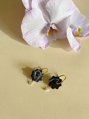 Floweret Earrings-Onyx