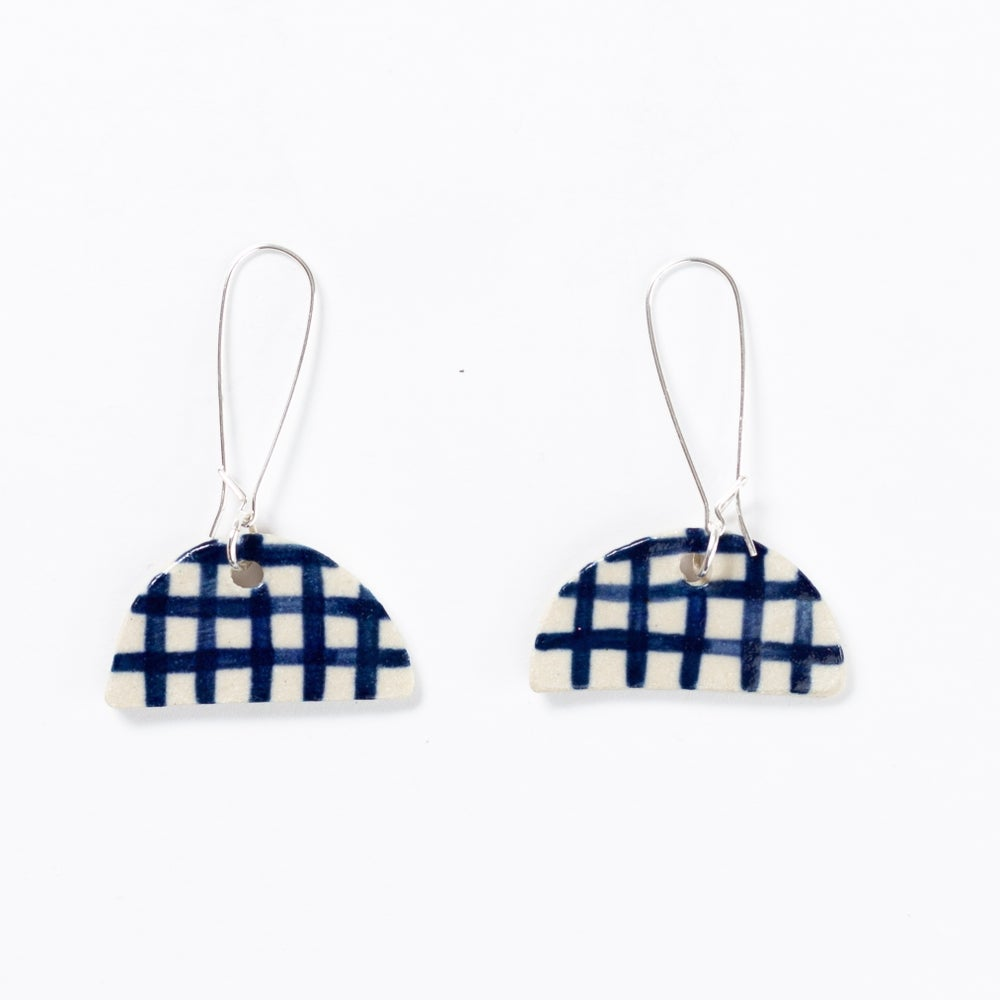 Indigo Gingham Half Moon Earrings- Shuh