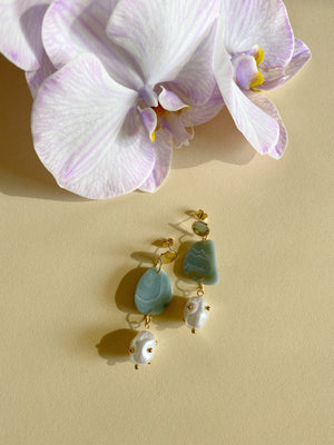 Kin Earrings- Neptune Green Agate