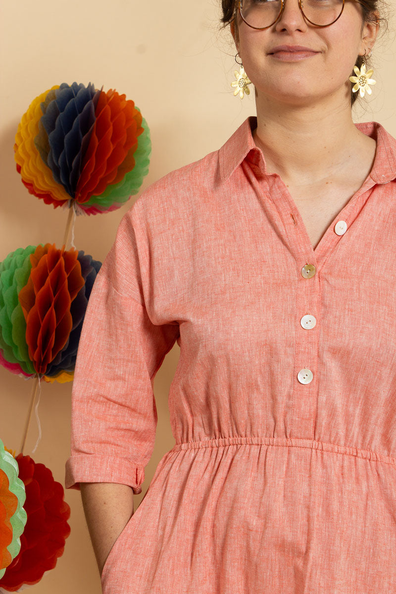 Peach Linen Shirt Dress