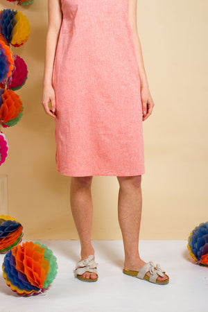 Peach Linen Slip Dress