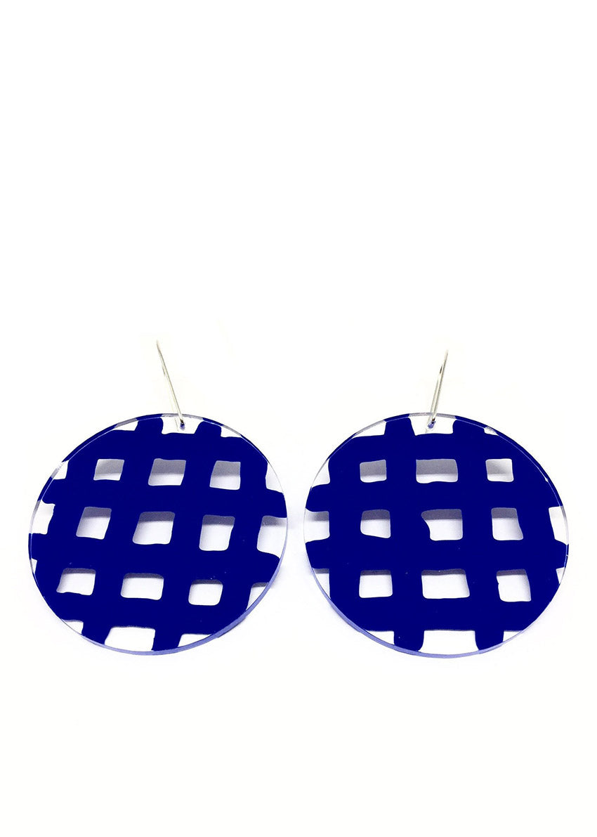 Electric Blue Bathroom Tiles Earrings