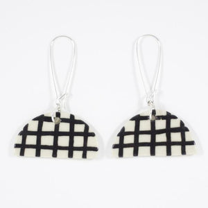 Black Gingham Half Moon Earrings- Shuh