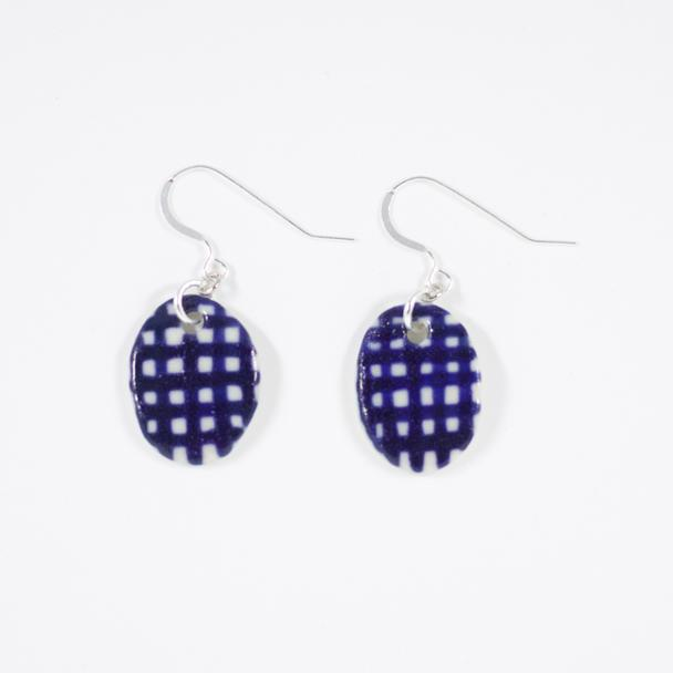 Indigo Gingham Egg Earrings- Shuh