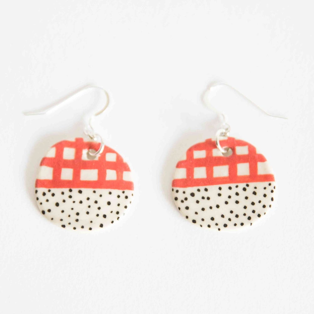 Red Halfy Round Earrings - Shuh