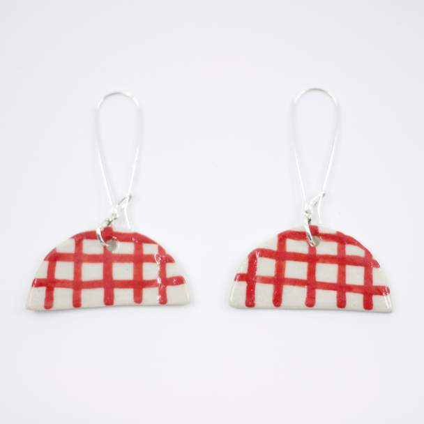 Red Gingham Half Moon Earrings- Shuh