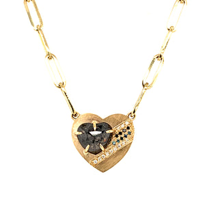 CORA 14k Gold Black Diamond Heart Necklace