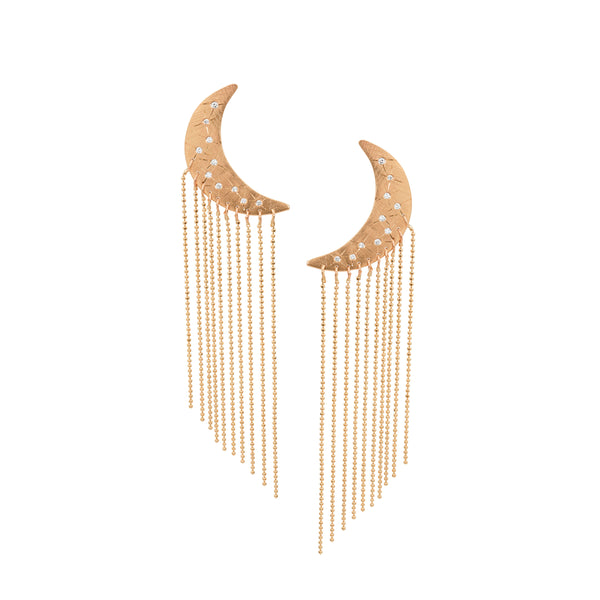 ALDA Medium 14k Gold Moon Fringe Earrings