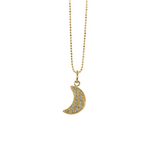 ALER 14k Gold Baby Diamond Moon