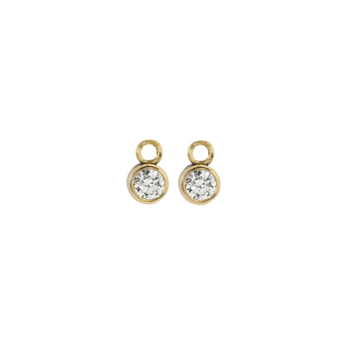 BEZI 14k Gold Baby Diamond Hoop Charms