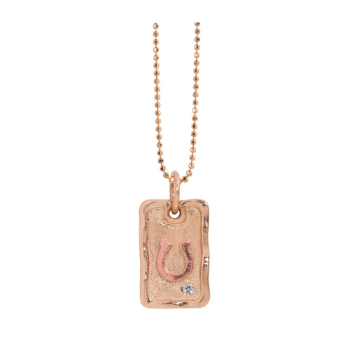 DALE 14k Gold Dog Tag Necklace