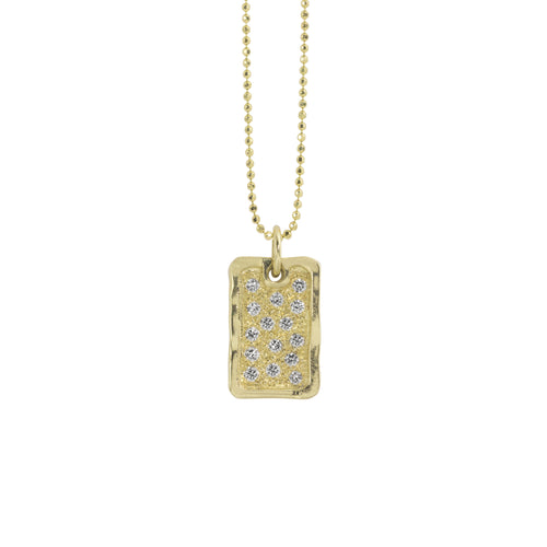 DEFT Small 14k Gold Dog Tag