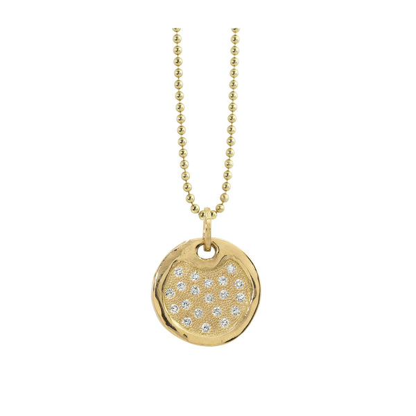 DENA 14k Gold Medium Round Dog Tag