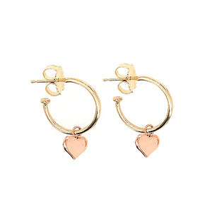 OLAP 14k Gold Hoops w/ Heart Charms