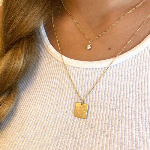 LEAH Small 14k Gold Diamond Heart
