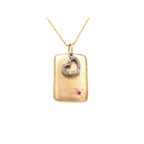 LOVE 14k Gold Dog Tag & Floating Heart