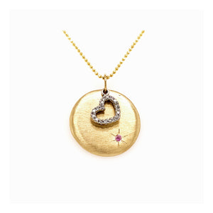 LOVE 14k Gold Round Medallion & Floating Heart