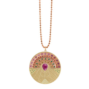 Gemstone Rainbow Up 14k Gold Medallion