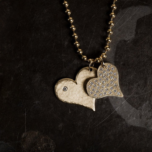 LANA 14k Large Gold Hammered Heart