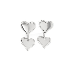 OALA 14k Gold Double Heart Earrings