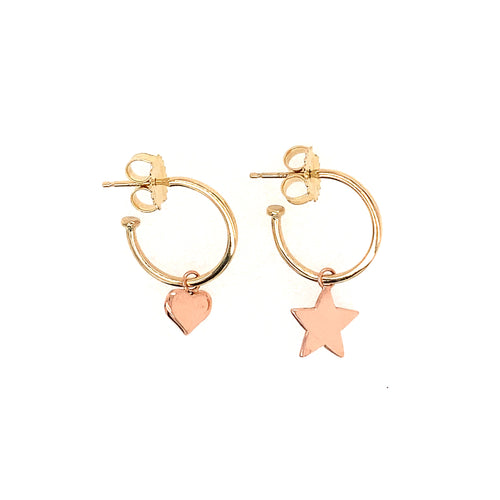 OLAN 14k Gold Hoops w/ Charms