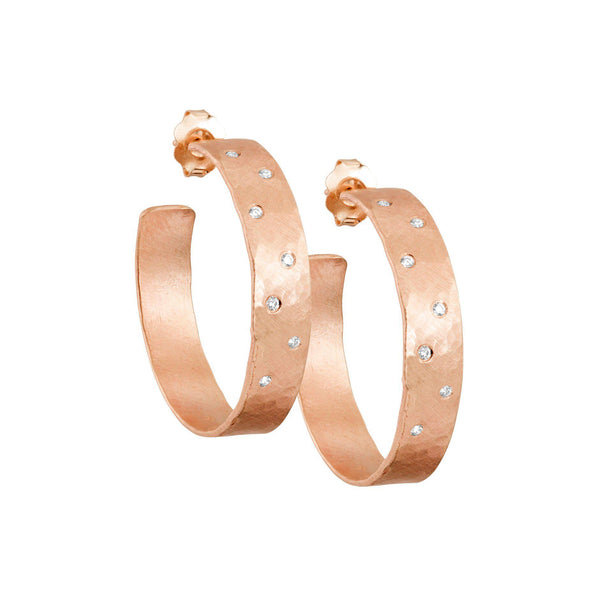 OPAR 14k Small Diamond Hoop Earrings