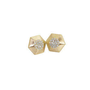 NEW! ORDS 14k Gold Hexagon Diamond Earrings