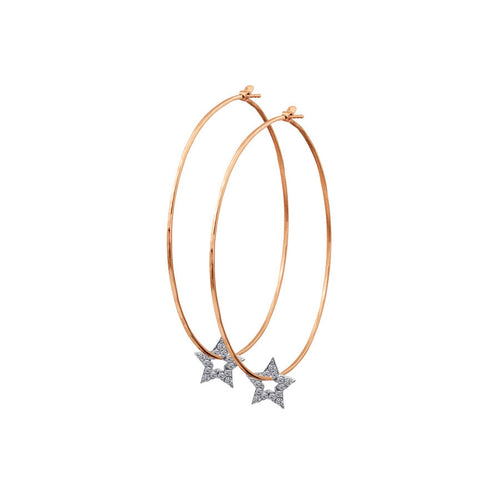 ORMS 14k Gold Hoop Earrings with Star Charms