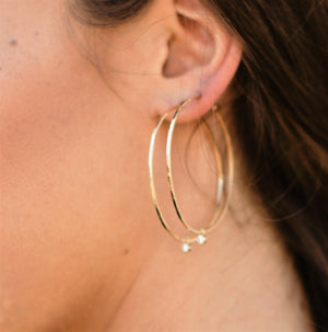 ORMS 14k Gold Hoops with Diamond Bezel Charms