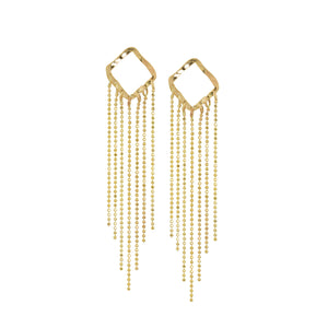 PECK 14k Gold Square Fringe Earrings