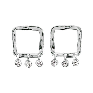 POPI 14k Gold Square Earrings with Diamonds