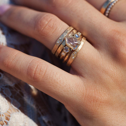 PRIM 14k Gold Hammered Stacker Ring