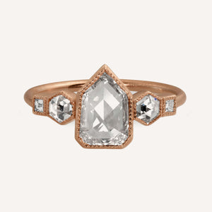 RUDA 14k Gold Diamond Shield Ring