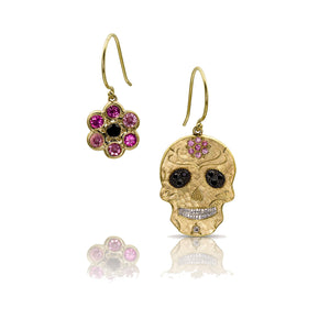 NEW! Skull & Flower 14k Gold Earrings