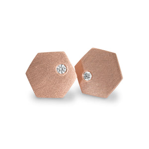 TEXX 14k Gold Hexagon Earrings