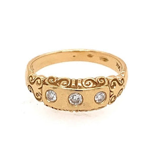 RENI Scroll Band with Diamonds