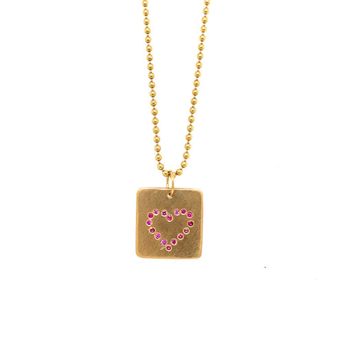 LEAH Small 14k Gold Sapphire Heart