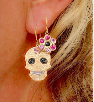 Skull & Flower 14k Gold Earrings