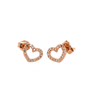 LARO 14k Gold Diamond Heart Earrings