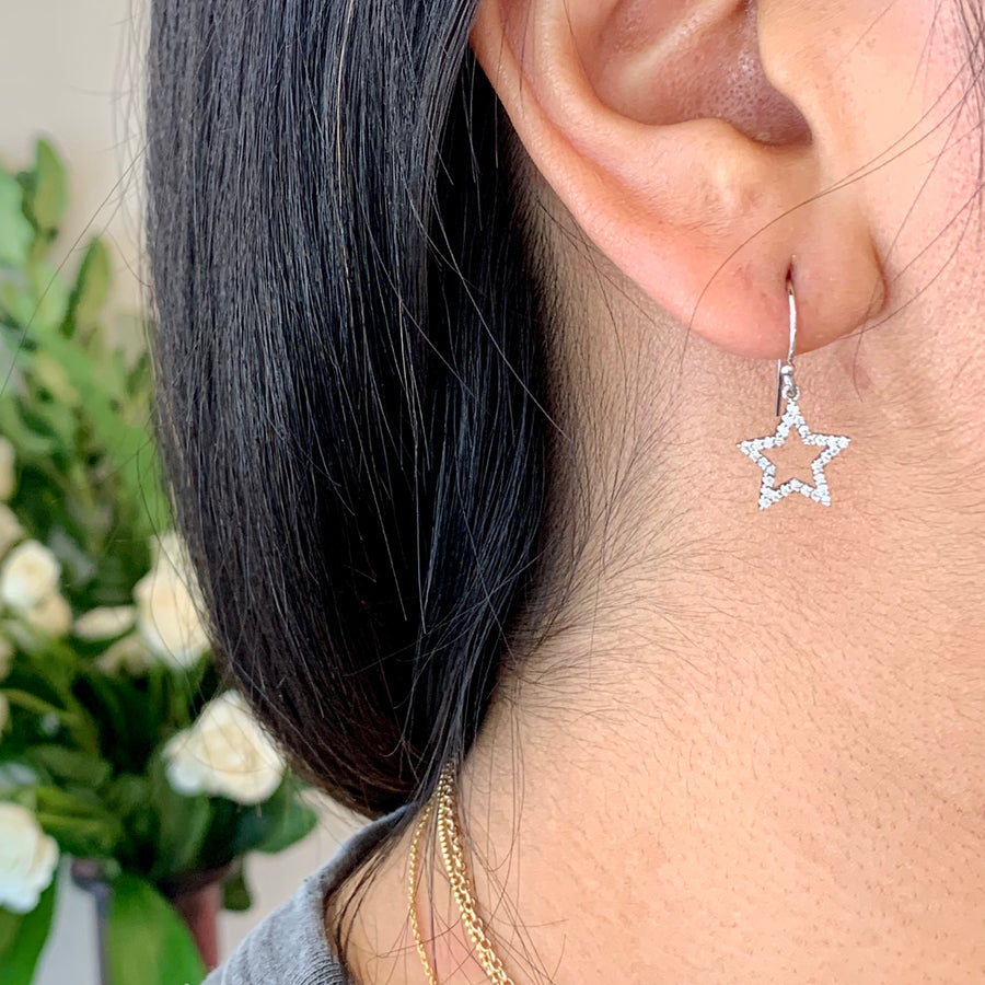 NEW! STAR Diamond French Hook Earrings