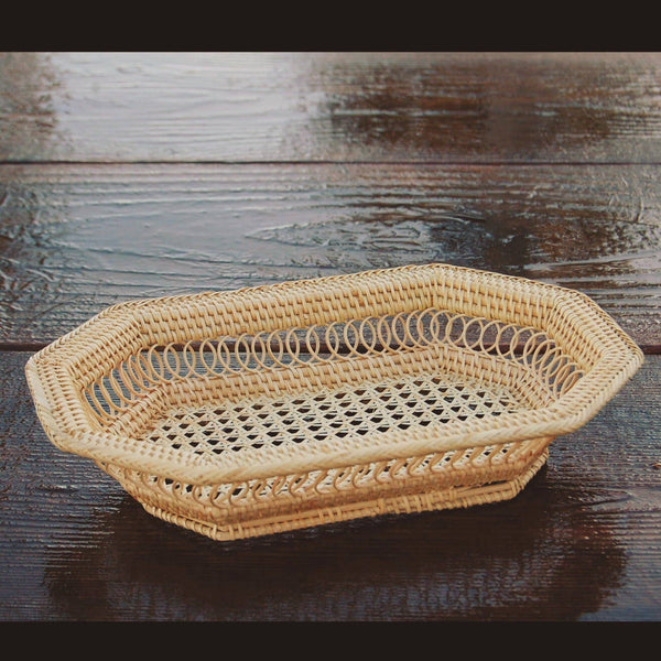 Small Rectangular Rattan Tray Basket