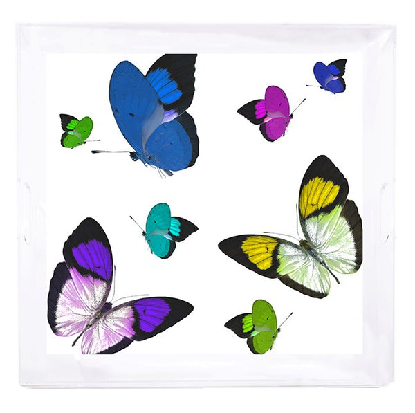 Butterflies Acid Blue Acrylic Tray