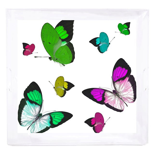 Butterflies Acid Green Acrylic Tray