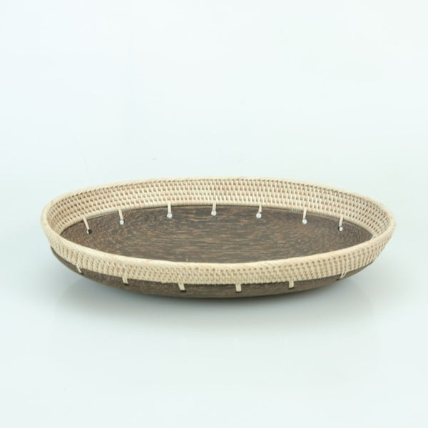 Hand Carved Oval Palm Wood Tray