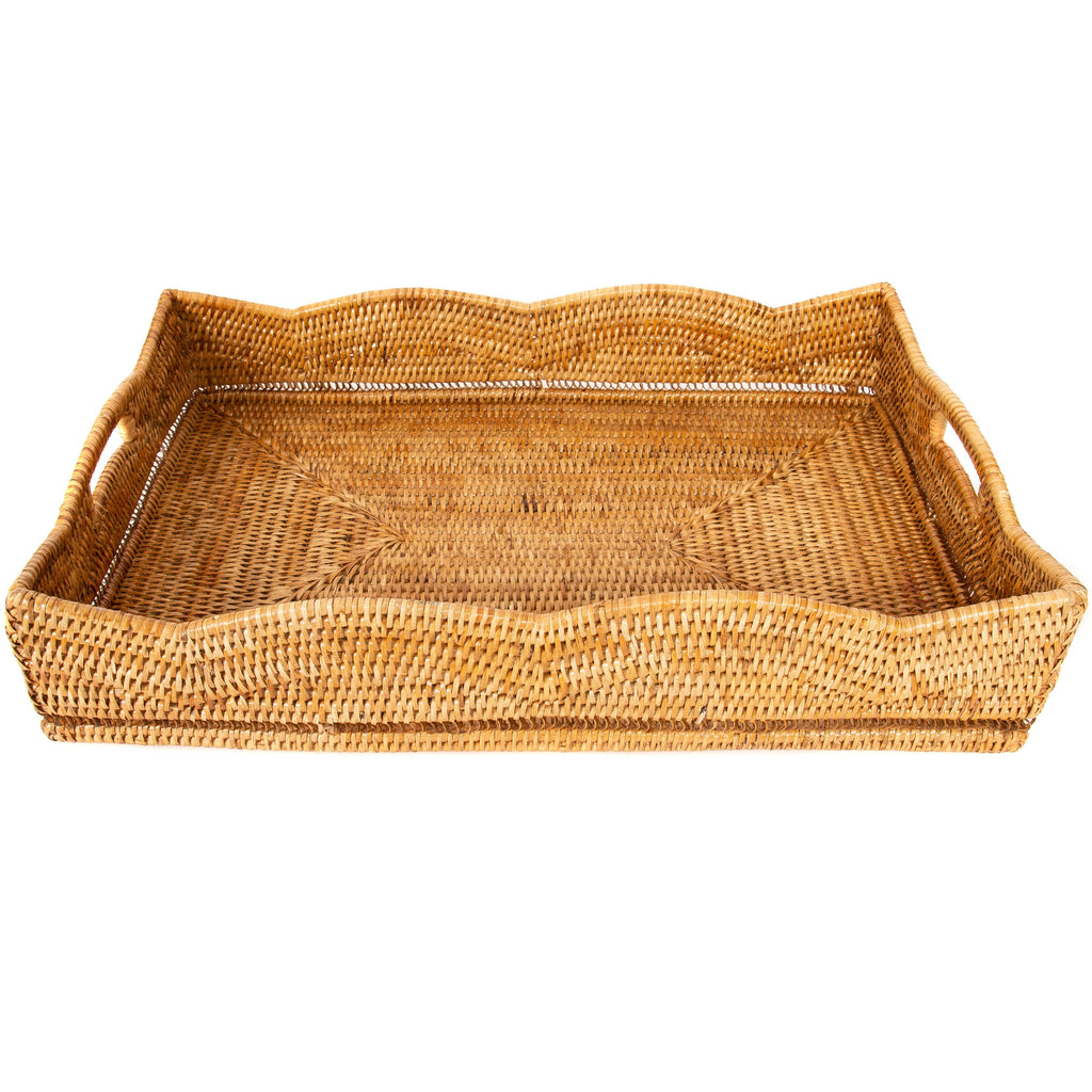 Rattan Scallop Rectangular Tray